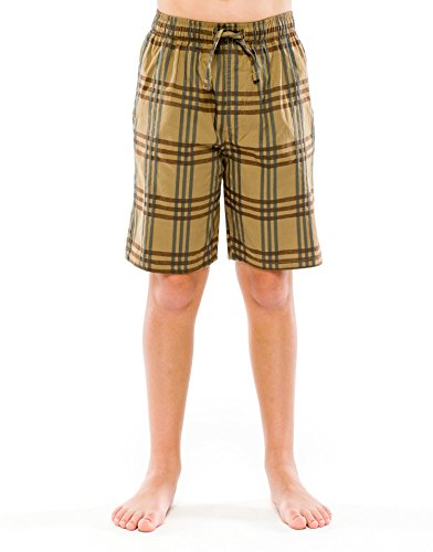 TINFL Boys Plaid Check Soft 100% Cotton Lounge Shorts BSP-03-Brown-XL