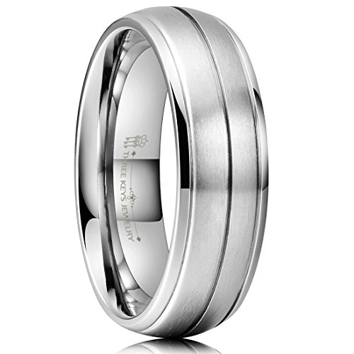 Three Keys Jewelry 7mm Titanium Wedding Ring Brushed Domed Center Triple Grooved Wedding Band Engagement Ring Size 10 ()