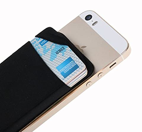 Case Art Plus Credit Card Secure Holder Stick on Wallet [ Lid ] Discreet ID Holder Lycra Spandex Card Sleeves for Smartphones, iPhone 6, Samsung Galaxy Cell Phone Wallet Case 3M Adhesive (Lg G2 Phone Case Magnetic)