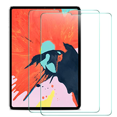 Yocktec Screen Protector for iPad Pro 12.9, (Apple Pencil and Face ID Supported), [Scratch-Resistant] [9H Hardness] Tempered Glass Screen Protector for Apple iPad Pro 12.9 2018 Tablet (2 Pack) ()