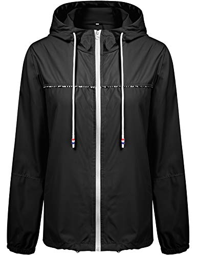Besshopie Waterproof Raincoat Women Outdoor Hooded Rain Jacket Long Trench Coats Windbreaker Black