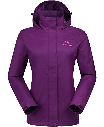 Nylon Winter Coat - CAMEL CROWN Womens Waterproof Rain Jacket Hooded Windbreaker Windproof Rain Coat Shell for Outdoor Hiking Traveling Purple XXL