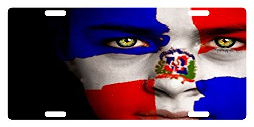 Republica Dominicana Flag Custom License Plate Dominican Emblem Version # 2 (Girl Version) (Flag Car Custom)