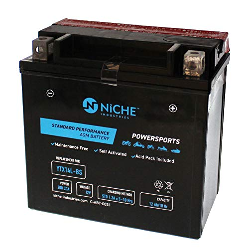 - NICHE Performance Series Replacement AGM Battery for YTX14L-BS, Rechargeable, Maintenance Free, Sealed | 200CCA, 12V, Self Activated | For Harley-Davidson Motorcycles & more