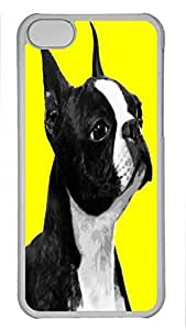 Custom design PC Transparent Case Cover For iPhone 5C DIY Durable Shell Skin For iPhone 5C with White and Black Color Dog