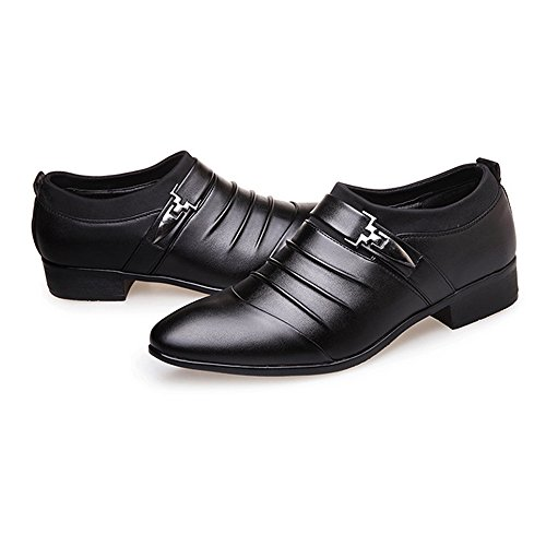 Oxford Business Style Black Lined Smooth Splice Upper Formal Men on Oxfords Uneven Breathable Leather Shoes Men Dress Slip Ruiyue PU Shoes Leather 1qI5Y5