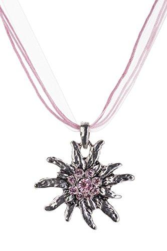Trachtenkette Edelweiss Trachtenschmuck - Trachten Kette mit feinem Strass in div. Farben - Halskette für Dirndl und Lederhosen (Rosa)