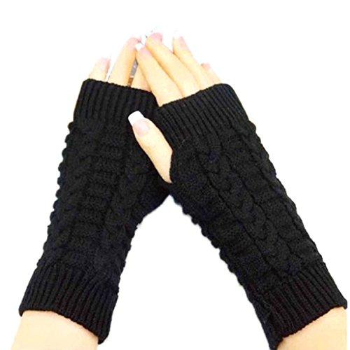 ABC 2016 Fashion Knitted Arm Fingerless Winter Gloves Unisex Soft Warm Mitten (A)