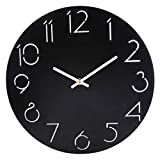 Cheap Wall Clock, Lingxuinfo 12 Inch Silent Round Wall Clock Decorative, Non – Ticking Wooden Wall Clock Battery Operated for Living Room, Kitchen, Bedroom – Black
