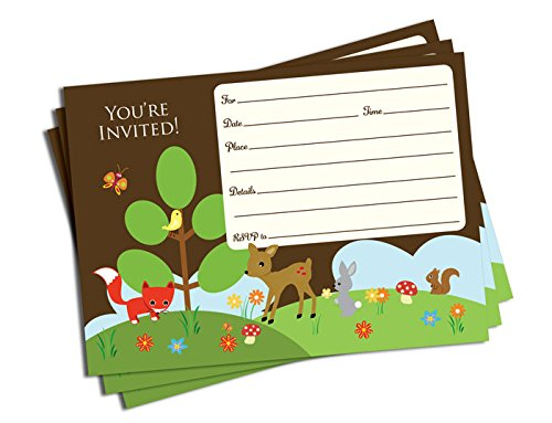 Amazon.com : 50 Woodland Forest Friends Invitations (5x7)   Baby Shower    Birthday Party   Any Occasion : Baby