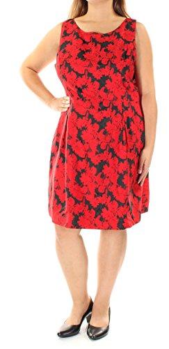 Tommy Hilfiger Black Floral Jacquard Knit Women Sheath Dress Red 2