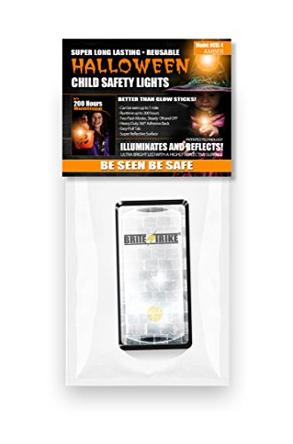Brite Strike Halloween Child Safety Light, Visible up to 1 Mile, Up to 200 Hours of Run Time, Illuminates and Reflects, Be Seen Be Safe, Amber