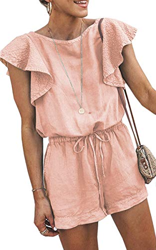 - Angashion Women's Loose Casual Ruffle Cap Sleeve Short Jumpsuits Hollow Back Romper with Belt Pink M