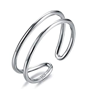 Bamos Rings for Women 925 Sterling Silver Adjustable Line Simple Open Band Toe Rings Minimalist Horizontal