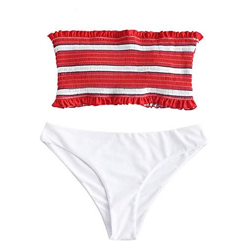 ZAFUL Women's Striped Smocked Bandeau Bikini Set Strapless Shirred Padded Two Piece Swimsuits (M, Red)