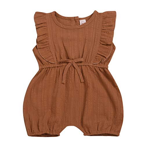 RoDeke Summer Toddler Baby Girls Ruffled Solid Color Sleeveless One-Pieces Bodysuit Floral Outfits Sunsuit 6M-3Y Brown