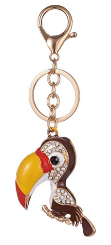 Crystal Toucan (Keychain for Women AlphaAcc Purse Charms for Handbags Crystal Toucan Tropical Bird Pendant with Key Ring)