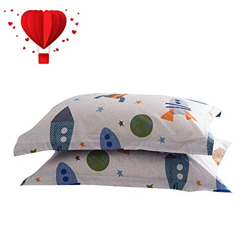 BuLuTu Cotton Space Rocket Print Bed Pillowcases Set of 2 Queen White Universe Adventure Theme Star Kids Pillow Covers Decorative Standard for Boys Girls Envelope Closure End (2 Pieces,20