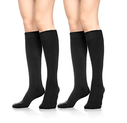 7f0b0651934 SDBING Womens Soft Thick Warm Cotton Crew Dress Winter Cold Weather Socks  (2 Pairs Black Long)