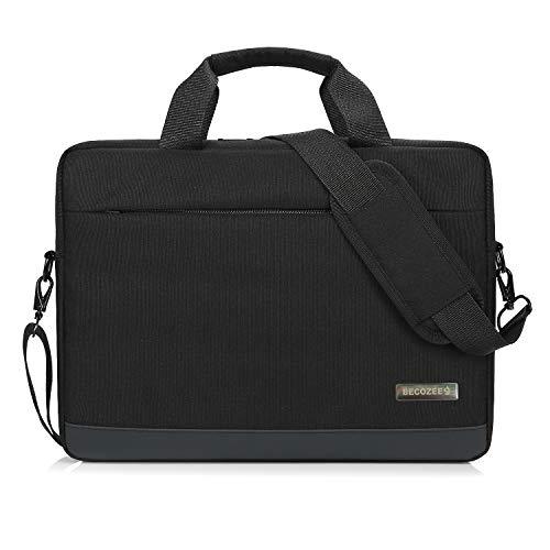 (15.6 inch Laptop Bag,Becozee Laptop Case,Briefcase Messenger Shoulder Bag for Men Women,Water-Resistant Notebook Sleeve Case for MacBook Pro,iPad Pro,Dell,HP,Gateway,Chromebook,VAIO,Black)