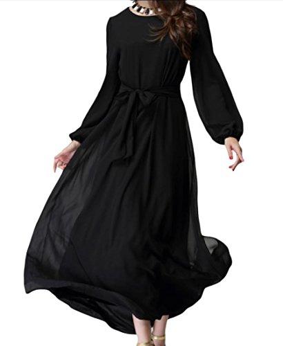 Comfy Femmes Taille Plus Élégante Confort Solide À Long Noir Robe Musulmane