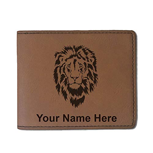 Faux Leather Wallet, Lion Head, Personalized Engraving Included (Dark Brown)