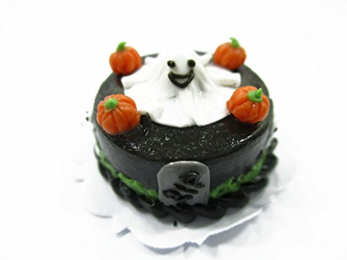 Dollhouse Miniatures Halloween Cake 2 cm Pumpkin Ghost Seasonal Handmade 13965 -