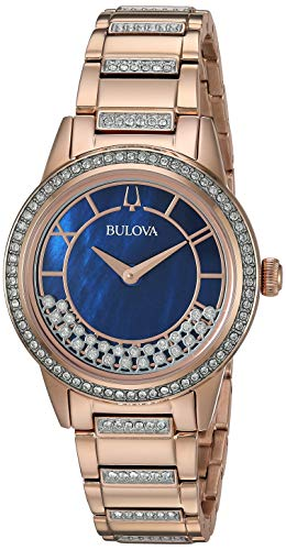 Bulova Women's Quartz Movement Two Tone Dress Watch (Model: - Round Crystal Mop