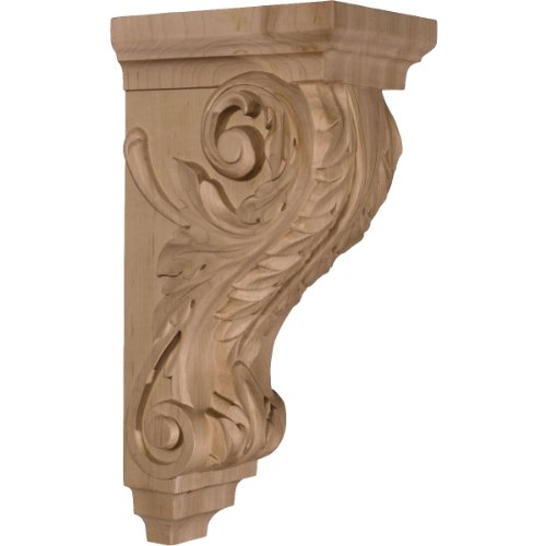 Ekena Millwork CORW05X07X14ACCH-CASE-2 5 inch W x 7 inch D x 14 inch H Large Acanthus Wood Corbel, Cherry (2-Pack),