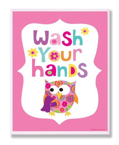[The Kids Room by Stupell Wash Your Hands on Pink Background Rectangle Wall Plaque] (Animals That Start With The Letter A)