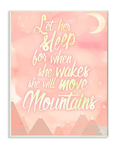 Stupell Home Décor Let Her Sleep Pink Water Color Mountains Wall Plaque Art, 10 x 0.5 x 15, Proudly Made in USA by The Kids Room by Stupell