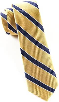 The Tie Bar 100% Woven Silk Gold and Navy Honor Striped Tie