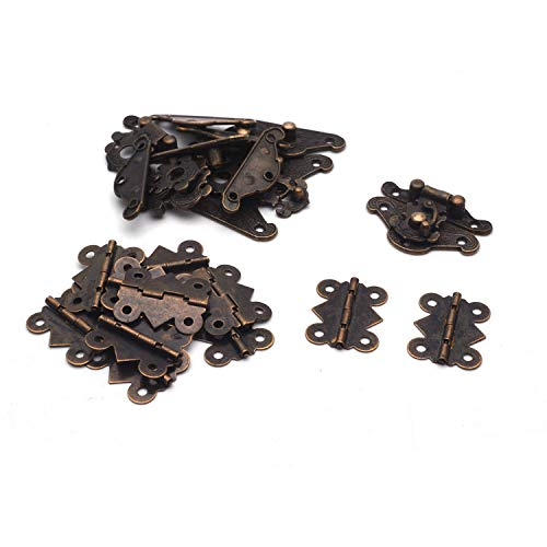 Box Large Clasp (Antrader 6 Sets Furniture Hasp Latch Antique Style Lock Decorative Cabinet Jewelry Box Mini Clasp and 12 Butterfly Hinges Bronze Tone with 84 Screws)