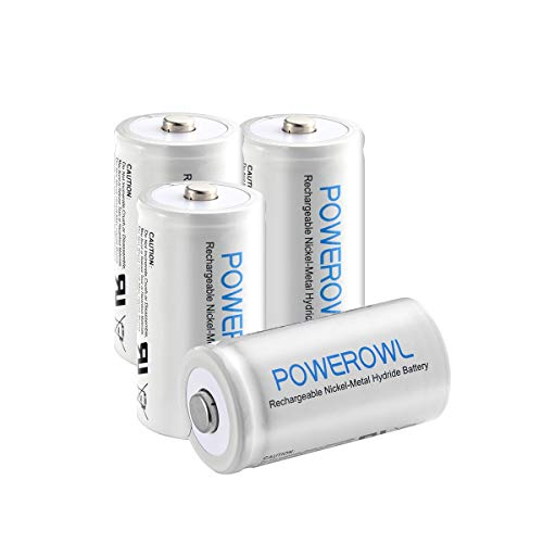 POWEROWL D Rechargeable Batteries 10000mah Batteries D Size Nickle Metal Hydride 1.2v Rechargeable D Batteries 4 Pack