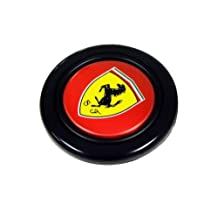 Ferrari Steering Wheel Horn Button with Black Horse on Yellow Shield Crest Logo Hood Badge and Red Background for 512 308 458 599 328 GTS GTO GTB M Dino 612 F430 360 550 355 F1 Spyder Mondial TS Modena F1 Scuderia Spider Challenge Testarossa
