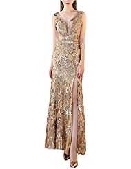 Fanhao Women's V Neck Golden Sequins with Belt Mermaid Split Long Prom Dress