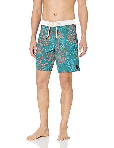 RVCA Men's VA Trunk, Blue Floral, 34 (Swim Shorts For Men Rvca)
