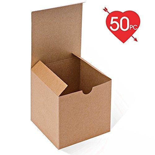 MESHA Kraft - Cajas de Papel con Tapas para Regalos, Tazas, Cajas de Cupcakes, 50 Unidades, 10 x 10 x 10 cm, Color café