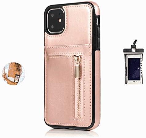 耐摩擦 手帳型 ケース iPhone XS Max ケース アイフォン レザー 本革 アイフォン 財布型 カード収納 軽量 保護ケース, 無料付防水ポーチ水泳など適用