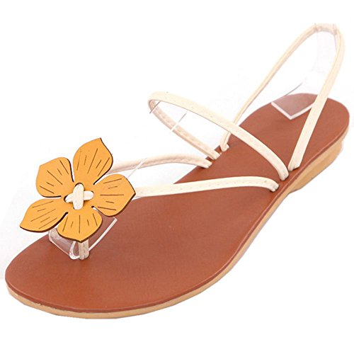 FANIMILA Mujer Dulce Clip Toe Slingback Planos Sandalias with Flor Chicas Colegio Flip Flop Zapatos Blanco