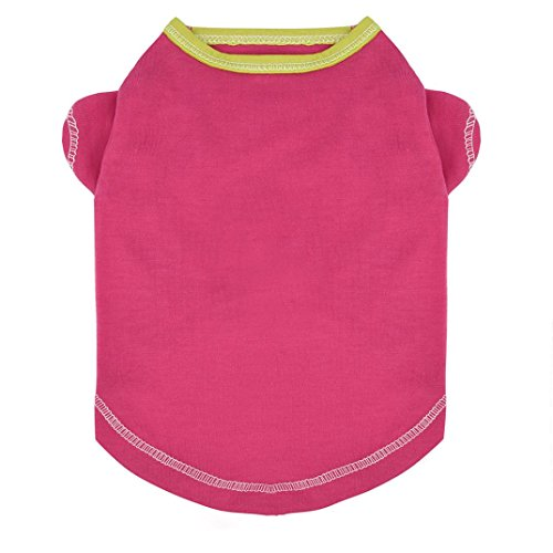 Nesee Summer Solid Small Jumpsuit Pet Dog Clothes Fashion Cat T-Shirt Apparel Spring Lovely Pure Color (Hot Pink, S) (Fan Pet Dog 1 T-shirt)