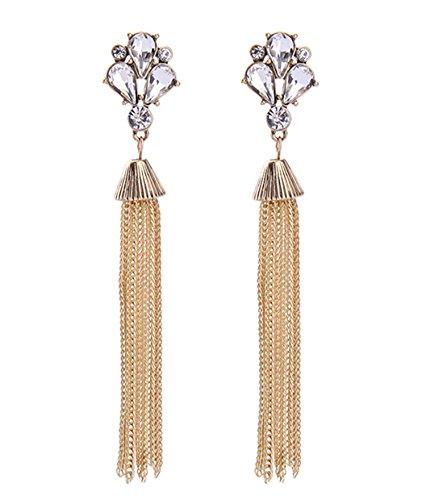 Dot & Line crystal floral gold tassel long statement earrings