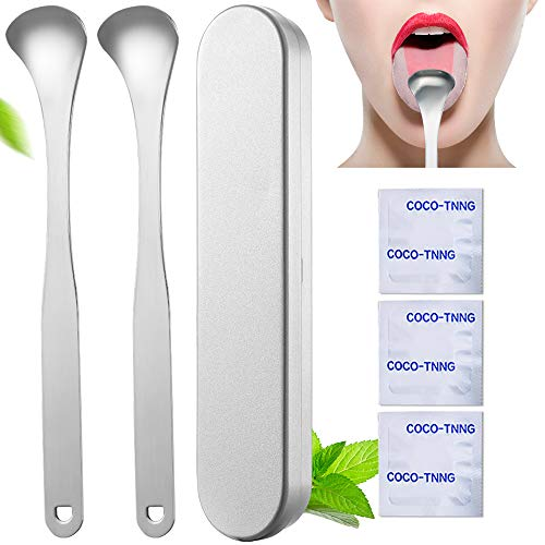 Stainless Steel Tongue Scraper Cleaner - Fresh Breath Tongue Scrapers Medical Grade Metal Tongue Scraping Cleaner with Carrying Case 3 Convenient Cleaning Tables for Oral Care from INCOK
