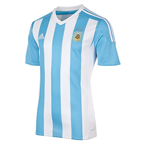 Adidas Argentina Home Soccer Jersey Climacool (White, Blue) Large
