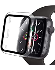 Compatible Apple Watch Case with Screen Protector, Clear Hard PC Bumper Case + 9H Bulletproof Tempered Glass Screen Protector Full Protective Cover Case for iWatch