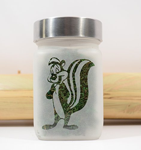 Pepe Le Pew Etched Glass Stash Jar - Weed Accessories by Twisted420Glass by Twisted420Glass