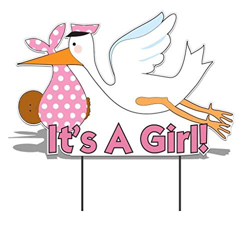 VictoryStore Yard Sign Outdoor Lawn Decorations - It's a Girl Stork, Baby Announcement Yard Sign (Dark Skin Toned Baby) -