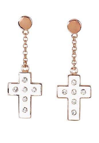 Boucles d'Oreille Femme-Bronze en forme de croix Motif Émail et Cristal Blanc