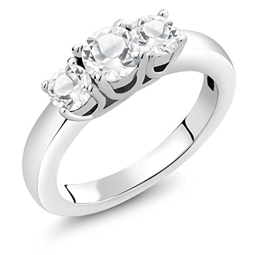 Gem Stone King Sterling Silver White Topaz Women s 3-Stone Ring 1.16 cttw Available 5,6,7,8,9