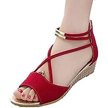Hee Grand Women Roman Style Open Toe Cross Strap Flat Sandals